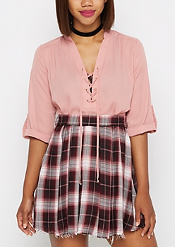 Pink Lattice Yoke Chiffon Blouse