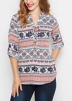 Bohemian Lace-Up Chiffon Popover Blouse