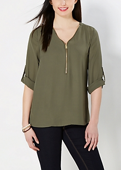Olive Green Zip Yoke Chiffon Blouse
