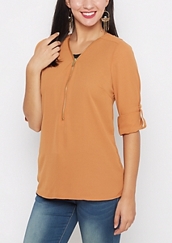 Dark Orange Zip Yoke Chiffon Blouse