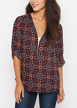 Floral Medallion Zip-Yoke Blouse