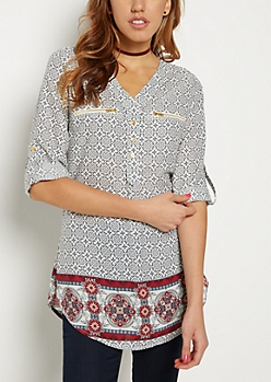 Bordered Medallion Print Tunic Top