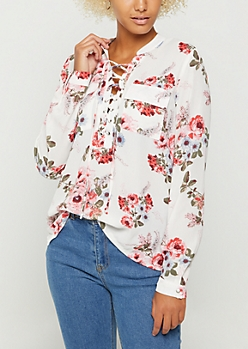 Wild Blossom Pocketed Lace Up Shirt