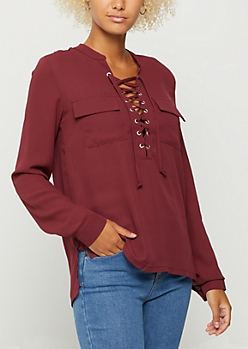 Burgundy Pocketed Lace Up Shirt