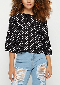 Polka Dot Crepe Trumpet Sleeve Top