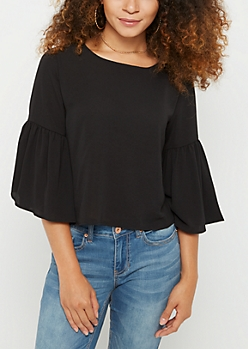Black Crepe Trumpet Sleeve Top