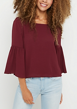 Plum Crepe Trumpet Sleeve Top