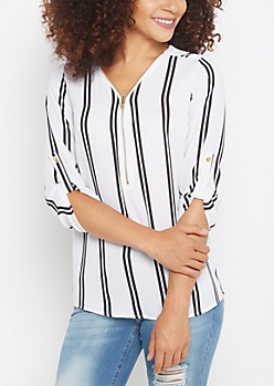 Striped Zip Yoke Blouse