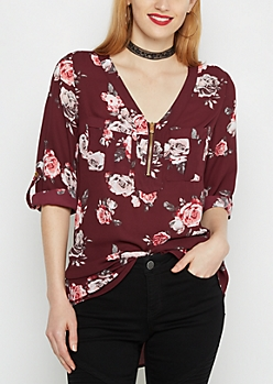 Rosy Zip-Neck Military Blouse