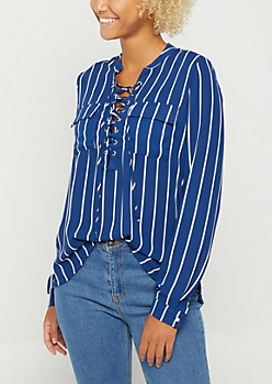 Blue & White Striped Lace Up Blouse