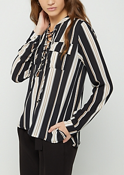 Black & White Striped Lace Up Blouse