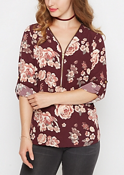 Plum Rosy Zip-Down Blouse