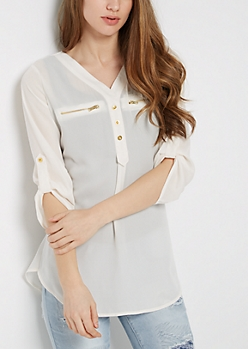 Ivory Zip Pocket Popover Shirt