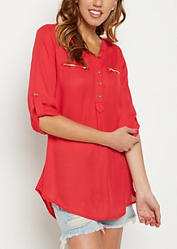 Red Zip Pocket Popover Shirt