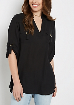 Black Flap Pocket Popover Blouse