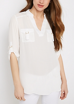 Ivory Flap Pocket Popover Blouse