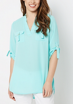 Light Blue Flap Pocket Popover Blouse