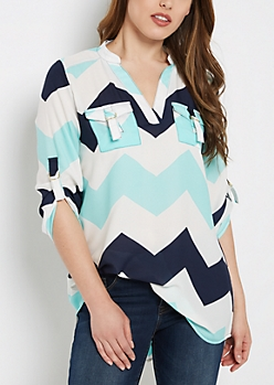 Blue Chevron Flap Pocket Popover Blouse