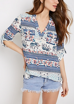 Elephant Folklore Flap Pocket Popover Blouse