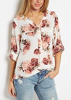Pink Rose Button Neckline Blouse