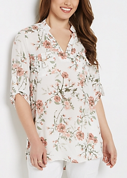 Ivory Wildflower Flap Pocket Popover Blouse