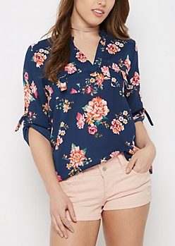Navy Wildflower Flap Pocket Popover Blouse
