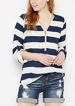Navy Striped Popover Blouse