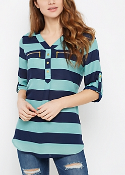 Blue Block Striped Mandarin Tunic Top