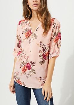 Pink Floral Zip Front Top