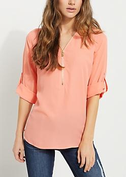 Pink Zip Front Top