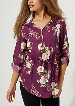 Purple Floral Zip Front Tie Waist Blouse