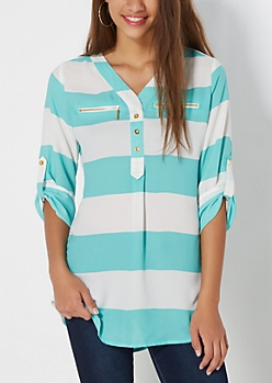 Mint Rugby Striped Popover Blouse