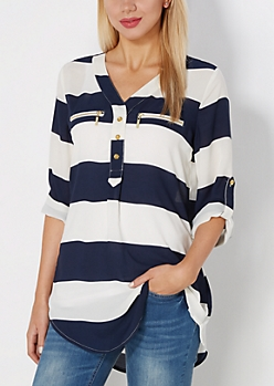 Navy Rugby Striped Popover Blouse