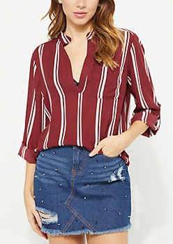 Burgundy Striped V Neck Blouse