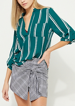 Teal Striped V Neck Blouse