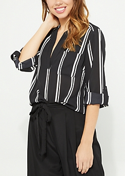 Black Striped V Neck Blouse