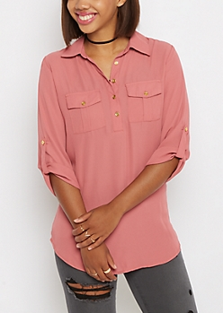 Pink Pleated Pocket Chiffon Blouse