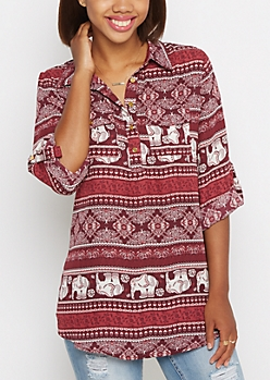 Boho Elephant Tunic Blouse