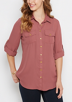 Pink Button Down Military Blouse