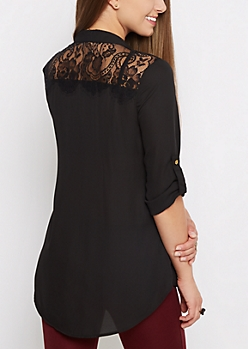 Black Lace Back Blouse