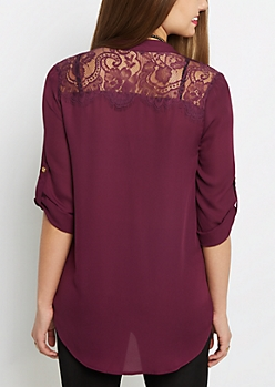 Plum Lace Back Blouse