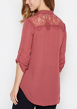 Dark Pink Lace Back Blouse