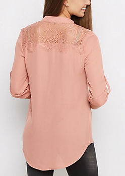 Pink Lace Back Blouse