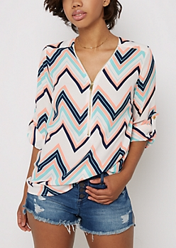 Neon Coral Chevron Zip Up Tunic Blouse