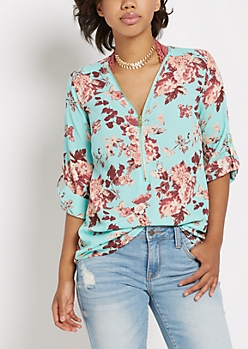 Mint Floral Zip Up Tunic Blouse
