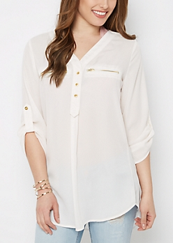 Ivory Zipper Accent Tunic Shirt