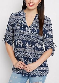 Boho Elephant D-Ring Pocket Tunic Shirt