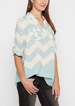 Turquoise Chevron D-Ring Pocket Tunic Shirt