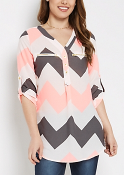 Neon Chevron Zipper Accent Tunic Shirt