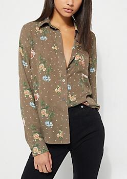Olive Floral Polka Dot Button Up Blouse